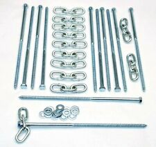 12 pc Lag Screws 3/8 x 12 Tent Stakes Festival Kit With Chain Links and Washers