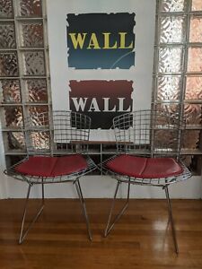 2 Authentic VINTAGE Knoll Harry Bertoia Side Chairs Chrome w/ Red Cushion!