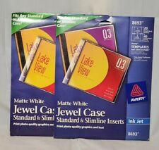 Avery Jewel Case Insert Ink Jet 72 Labels 8693 New 2 Pks Cd Standard Or Slimline