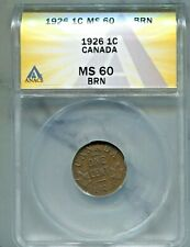 CANADA - FANTASTIC GEORGE V BRONZE CENT, 1926 (GREAT DATE), KM# 28, ANACS MS 60