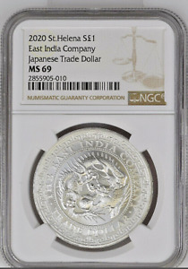 2020 St. Helena Silver 1oz JAPANESE Trade Dollar Restrike | East India Co| MS 69