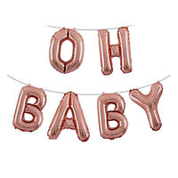 OH BABY Rose Gold Foil Letter Balloons - Baby Shower Decoration Engagement Party