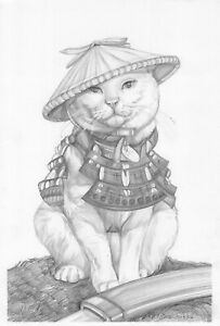 original drawing 20 x 30 cm 95SAn art Modern Graphite sketch animal samurai cat