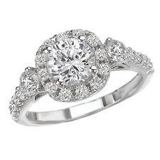 NEW LADIES 14k WHITE GOLD SEMI-MOUNT DIAMOND ROUND ENGAGEMENT WEDDING RING 1ct