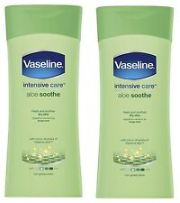 2 x Vaseline Intensive Care Aloe Soothe 400ml Lotion (Heals, soothes dry skin)