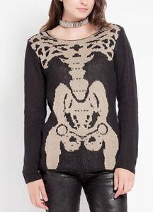 TRIPP NYC X-Ray Skeleton Sweater RM788 Goth Punk Black & Tan NWT