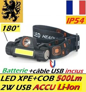 LAMPE TORCHE FRONTALE LED PL-XZ 2W 500Lm 2 Modes XPE+COB RECHARGEABLE USB AIMANT