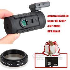 Mini 0826 Ambarella A7LA50 Super HD 1296P Car GPS Dash Camera DVR CPL+32GB F1
