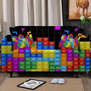 Tetris Block Game Sofa Couch Chair Cushion Stretch Cover Slipcover Set Decor