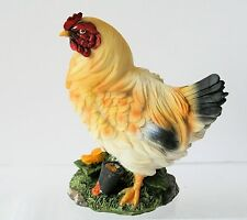 Country Rooster HEN Figurine Resin with yellow flower NEW IN BOX
