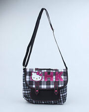 HELLO KITTY sanrio domino effect plaid medium messenger bag tote purse NWT