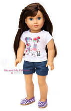 Girls Dogs Shirt + Cuffed Shorts + SHOES for 18 inch American Girl Doll Clothes