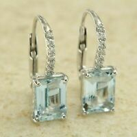 4.00 Ct Emerald Cut Aquamarine Solitaire Drop Earrings 14K White Gold Finish