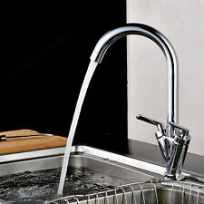 Modern Mono Kitchen Mixer Tap Twin Lever Control Swivel Hot & Cold Faucet Finish
