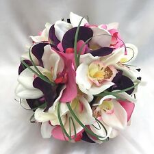 Bride Bridesmaids Orchid Posy Bouquet Purple Pink & Ivory Artificial Flowers