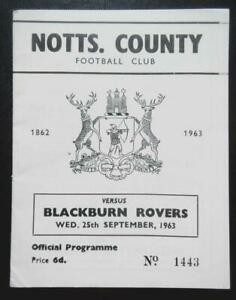 NOTTS COUNTY v BLACKBURN ROVERS - 1963/64 - League Cup 2nd Round