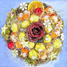 Premium-Rocher-Küsschen-Strauß Weihnachten Praline Schokolade Rose Handarbeit