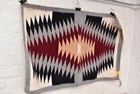 "Vintage native american textile weaving Navajo indian rug 38x23"" Atq eye dazzler"