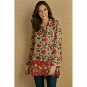 Soft Surroundings Afternoon Tea Tunic Top XL Beige Floral