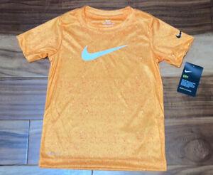 Nike Short Sleeve Shirt Tee T-Shirt Orange Peel Logo Dri-Fit NWT Boy's 6 NEW