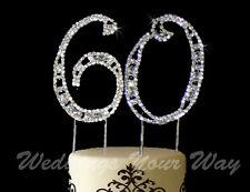 60th Birthday Rhinestone Crystal Cake Topper Number 7cm Silver Diamante Bling