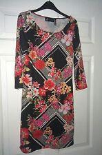 Ladies black red flower rose bodycon dress - size 10