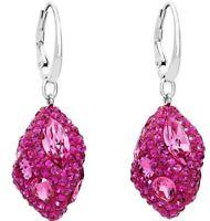 NIB $249 Atelier Swarovski Moselle Single Drop Pierced Earrings Fuchsia #5414042