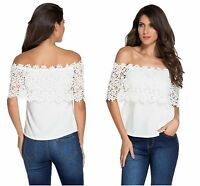 New Ladies Blouse Cream White Lace Spliced Off Shoulder Chiffon Top T-Shirt 8 10