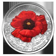 "2015 - ""COLOURED POPPY VARIETY""  CANADA/CANADIAN QUARTER DOLLAR .25¢ COIN BU"
