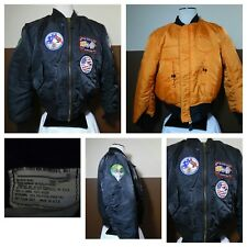 VTG AUTHENTIC ALPHA INDUSTRIES MENS  MA-1 FLIGHT JACKET Patches Black Orange XL