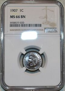 NGC MS-66 BN 1907 Indian Head Cent, Impeccable, scarce-grade specimen.