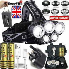 UK 350000LM 5X T6 LED Headlamp Headlight Head Torch Rechargeable Flashlight Lamp