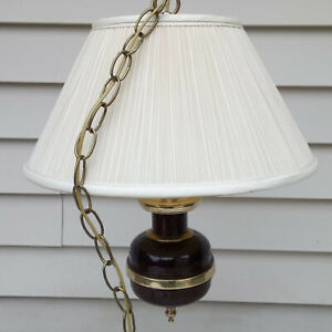 Vintage Swag Hanging Lamp Brass + Marbled Red/Black Glass Pleated Empire Shade