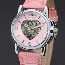 Women Dress Wrist Watch Elegant Skeleton Heart Pink Leather Automatic Mechanical
