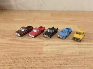 Lot of 5 YatMing Chevy Sidestep Pickup Trucks Blue Yellow Red Black Brown