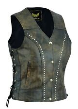 Distressed Leather waistcoat women motorcycle biker vest