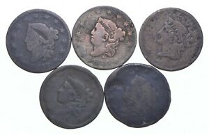 Lot of 5 1817-1857 Early US Large Cent - Dateless - History You Can Hold! *595