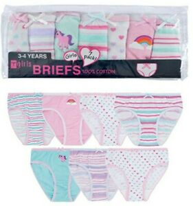 Girls Pants 7 PAIRS! 100% Cotton Knickers Briefs Size Age 2 to 8 Years Unicorn