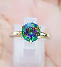 1ct Natural VS Mystic Green Topaz Solitaire Ring Solid 14K White Gold Engagement