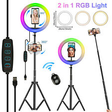 10'' LED Ring Light Dimmable Lamp Kit Phone Holder Selfie Tripod Makeup w/Remote