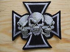 B041 ECUSSON PATCH THERMOCOLLANT 3 CRANES tete mort skull biker metal / 9x9cm