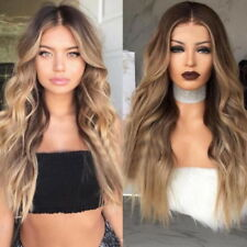 Women Short Wigs High Temperature Synthetic Ash Blonde Wig Long Curly Wave Wig