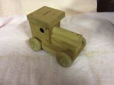 """WOODEN TRUCK COIN BANK, All Natural Wood Truck Jeep Coin Bank Toy 7""""L 5""""Ht"""