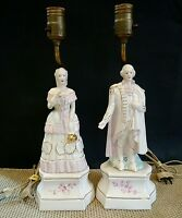 Set of 2 Vintage Nostalgic Figural Porcelain Lamps Colonial People Man & Woman