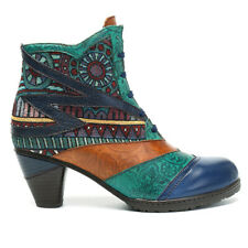 SOCOFY Womens Leather Ankle Boots Bohemian Splicing Pattern  Block Heel Shoe