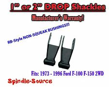 "1973 - 1996 Ford F150 1""/ 2"" Rear Lowering Drop Shackles SET 2WD  RB Bushings"