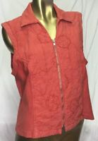 Produce Company Vest Size Large L Zipper Quilted Flowers Rust Color