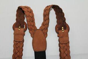 Unbranded Men's Leather Braided Suspenders Braces Adjustable