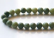 50pcs 8mm Round Natural Gemstone Beads - Canadian Jade