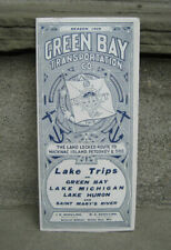 1909 Green Bay Transportation Co. Fares & Time Tables....Lake Trips on Green Bay